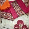 Printed Pink Orange Blue Chanderi Cotton Dress Material, Gsm: 50-100