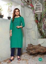 Beautiful Green Pure Cotton Rayon Kurtis
