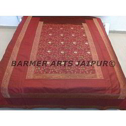 Designer Silk Embroidery Bed Cover