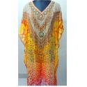 Ladies Half Sleeves Chiffon Printed Kaftans