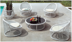 Milky Style Wicker Outdoor Coffee Set