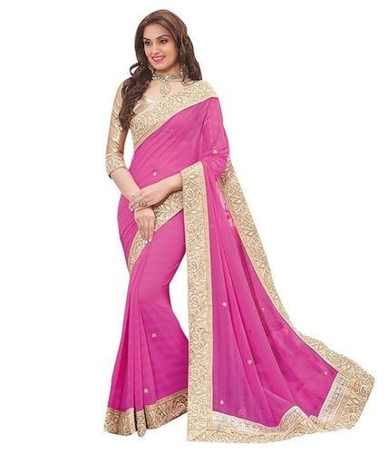 ec0ccdf30406f Pink Georgette Saree With Beautiful Lace And Blouse Piece at Rs 600 ...