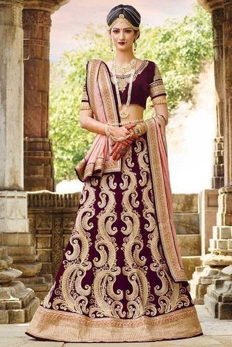 1eb2f02c28c6 Heavy Work On Velvet Collection Of Bridal Lehenga Choli at Rs 7059 ...