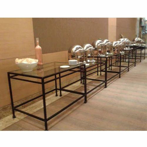 Buffet Table.Glass Top Buffet Table