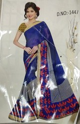 Blue Synthetic Cotton Saree, Machine Made