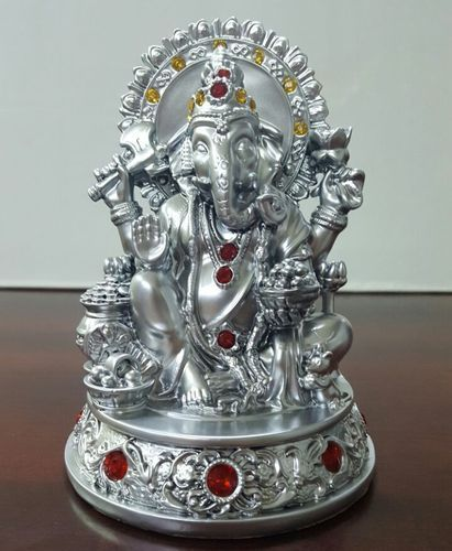 White Metal German Silver Ganesha Statue च द क