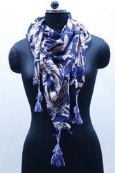 Leaf Print Cotton Scarf with Contrast Tassels