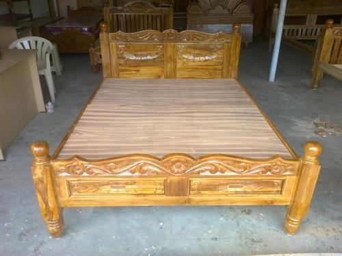 New Carving Pure Teak Wood Cot King Size