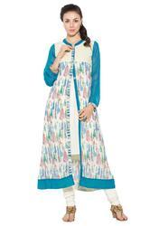 Georgette White Shade with Blue Printed Long Kurta