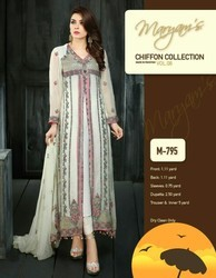 Pakistani Embroidered Chiffon White Color Suit, Dry clean