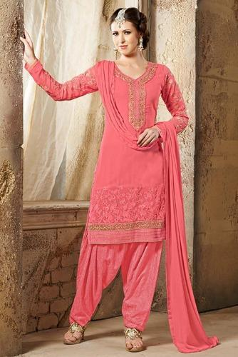237e5e7022 Designer Pink Embroidery Georgette With Fren at Rs 750 /piece ...