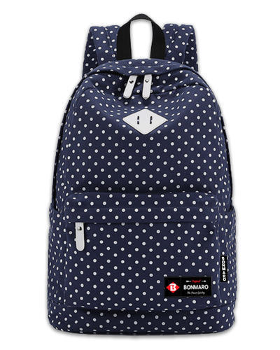 dae9e679aa Bonmaro Polka Dots Blue Canvas Classic Backpack