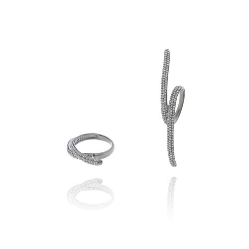 Phospher Crystal Elements Individual Diamond Studded Silver Open Ring