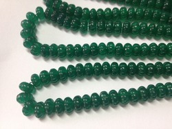 Green Onyx Carved Melon Beads