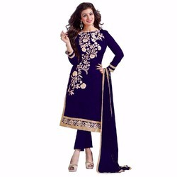Georgette Dark Blue Salwar Kameez
