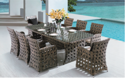 Brown Style Outdoor Wicker Dining Table Set