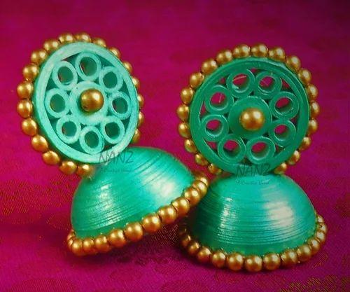 bdfbfa843 Wedding Girls Paper Earing Green Jhumka, Rs 120 /pair, Manu S ...
