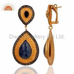 Designer Blue Sapphire Gemstone Earring