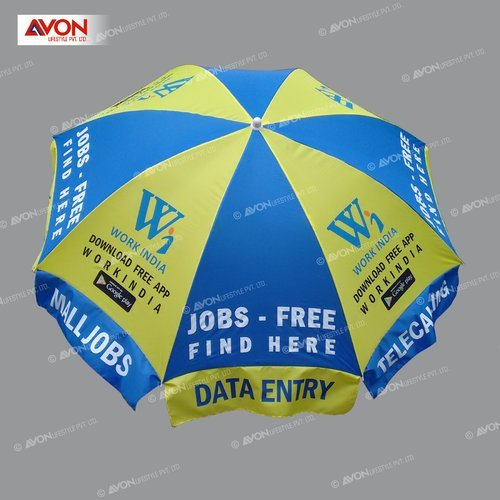 Yellow and Blue Data Entry Patio Umbrella, Size: 36 Inch