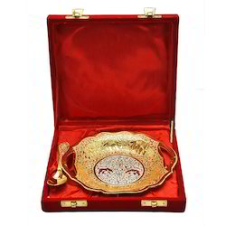HHI Silver Gold Plated Brass Tray For Return Gift, For Home and Kitchen