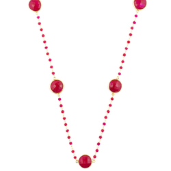Dyed Ruby Bezel Set Necklace