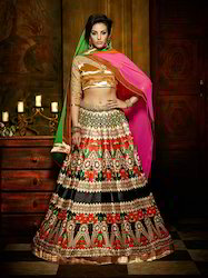 Black & Red Colored Banglori Silk Digital Printed Lehenga