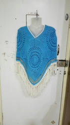 Hand Crocheted Sky Blue Ladies Poncho
