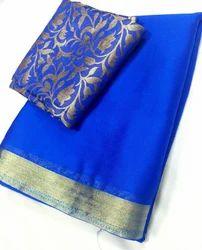 Royal Blue Plain Chinnon Silk Fabrics