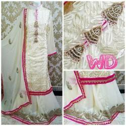 Stiched White Designer Suit