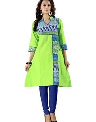 Light Green Printed Cotton Kurti