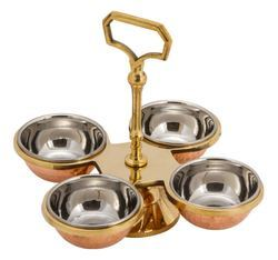 Pickle Set- Copper Brass - 4 Bowls