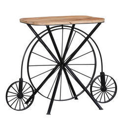 Square Metal And Mango Wood Cycle Wheel Iron Wooden Vintage Table For Restaurant