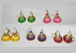 DMK Brand Multi colored Silk Thread Earrings, Shape: Jumka