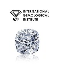 100%Real White Cushion Cut IGI Certified SI1/D Color Diamond