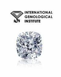 100%Real White Cushion Cut IGI Certified SI1/D Color Diamond