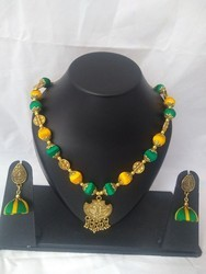 Yellow and Green Silk Thread Necklace