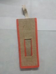 Orange Jute Water Bottle Bag