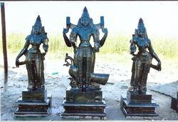 Divine Black Stone Lord Muruga & Valli Deivanai 54 Inches