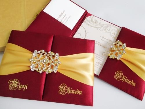 Folio Style Wedding Invitations Red Silk Invitation Manufacturer From New Delhi