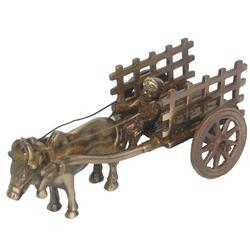 Brown Aakrati Handcrafted Bull Cart Statue Made By Brass, For Decoration