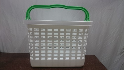 Virgin Plastic White And Green Mall Basket