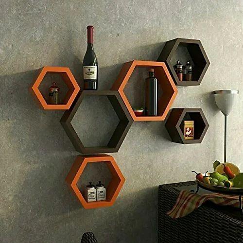 official photos 8afa5 ec14d Encore Decor Hexagon Mdf Wall Shelf ( Number Of Shelves 6 Color Brown  ,orange )