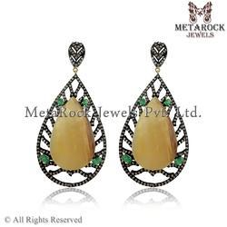 Yellow Sapphire & Emerald Diamond Dangle Earrings