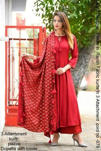 Red Color Dress Indo Western Style