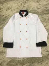 White, Black Polyester Chef Shirt, Size: 42