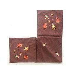 brown Embroidery Table Runner, Size: 35x150 Cms