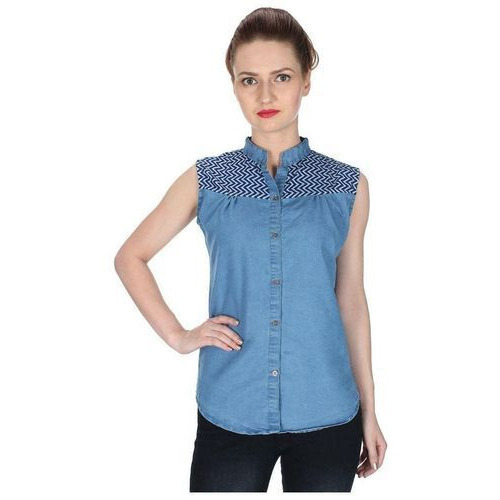 63335ef7b32e Ladies Stylish Blue Sleeveless Denim Shirt, Size: S-XL, Rs 498 ...