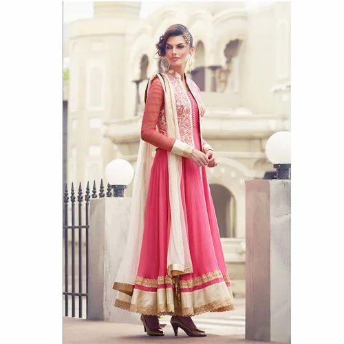 3f5f0bd2650 Embroidered Work Semi stitched Salwar Kameez - Pink Color Net ...