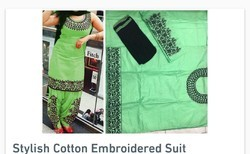 Stylish cotton embroidered suit
