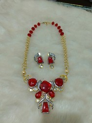 Red Stone cz long nacklace set